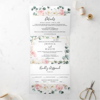 Floral Greenery Wedding Tri-Fold Invitations