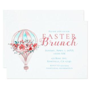 Floral Hot Air Balloon Easter Brunch Spring Party Invitations