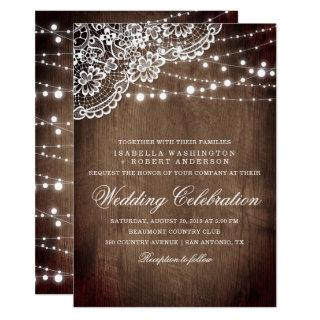 Floral Lace & String Of Lights Rustic Wood Wedding Invitations