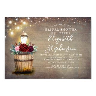 Floral Lantern Rustic Country Fall Bridal Shower Invitations