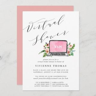 Floral Laptop Virtual Bridal Shower Invitations