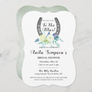 Floral Lucky Horseshoe Bridal Shower Invitations