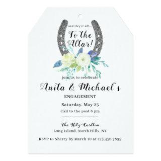 Floral Lucky Horseshoe Engagement Party Invitations