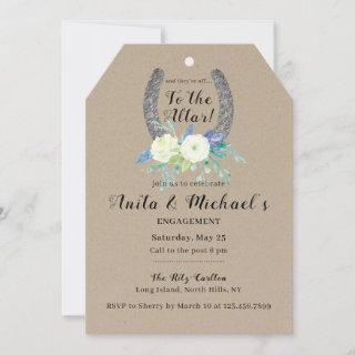 Floral Lucky Horseshoe Engagement Party Kraft Invitation
