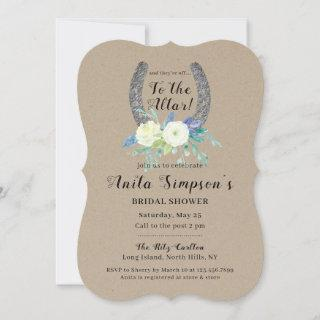 Floral Lucky Horseshoe Rustic Kraft Bridal Shower Invitation
