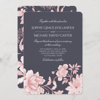 Floral Motif in Pink and Grey 2 Wedding Invitations
