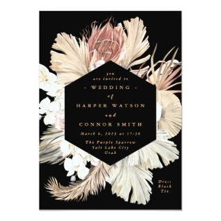 Floral Pampas Grass Tropical Jungle Black Invitation
