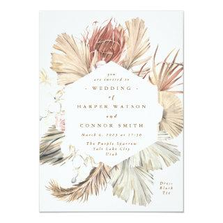 Floral Pampas Grass Tropical Jungle Invitations