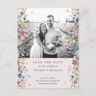 Floral Photo Save the Date Announcement Postcard