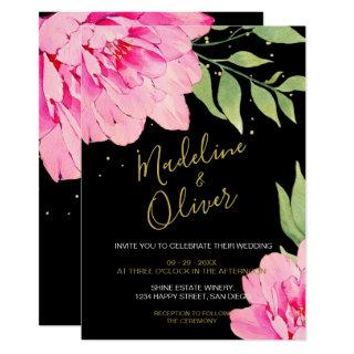 Floral Pink Black Gold Modern Chic Rose Wedding Invitation