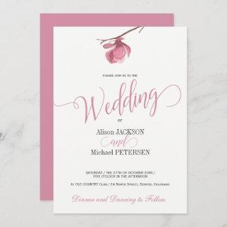 Floral pink blush and white wedding modern script Invitations
