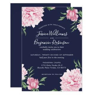 Floral Pink Peony with Navy Background Wedding Invitation