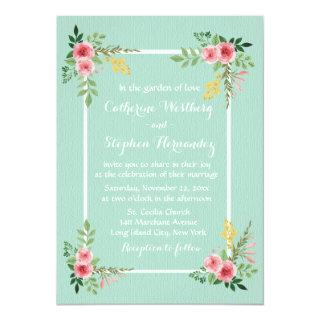 Floral Pink Roses Watercolor Mint Green Wedding Invitations