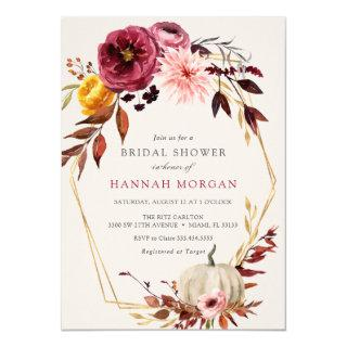 Floral Pumpkin Bridal Shower Invitations
