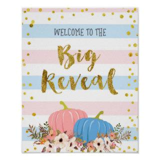 Floral Pumpkin Gender Reveal Welcome Sign