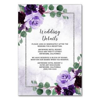 Floral Purple and Silver Wedding Enclosure Cards