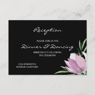 Floral Purple Magnolia Watercolor Reception Enclosure Card