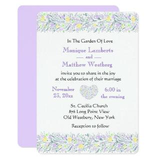 Floral Purple & Yellow Wedding Flowers & Hearts Invitations