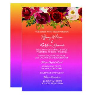 Floral Rainbow Same-Sex Marriage wedding Invite