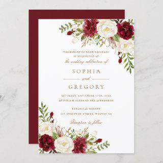 Floral Red Burgundy White Modern Elegant Wedding Invitations