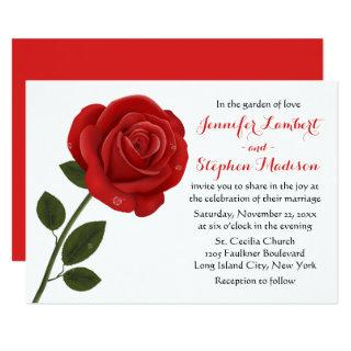 Floral Red Rose Flower Wedding Party Invitation