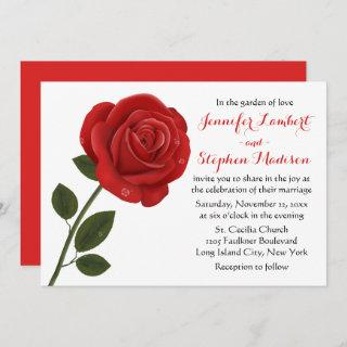 Floral Red Rose Flower Wedding Party Invitations