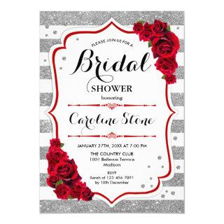 Floral Red Silver Stripes Bridal Shower Invitations