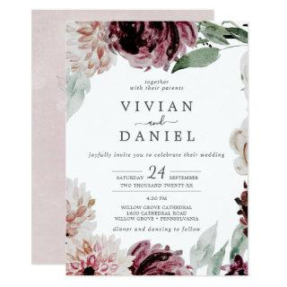 Floral Romance All In One Wedding Invitations