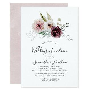 Floral Romance Wedding Luncheon Invitation
