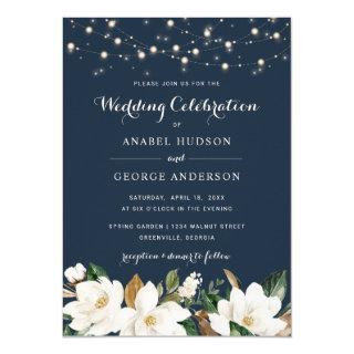 Floral Rustic Navy String Lights Magnolia Elegant Invitation