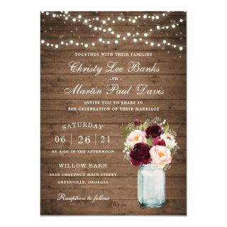 Floral Rustic Wood Blush Burgundy Mason Jar Invitation