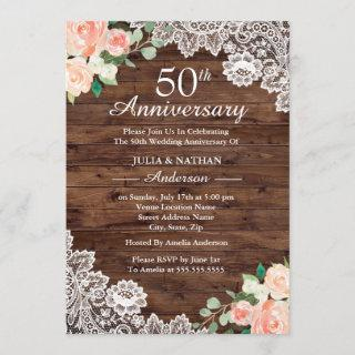 Floral Rustic Wood Lace 50th Wedding Anniversary Invitations