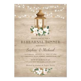 Floral Rustic Wood Lantern Magnolia String Lights Invitation