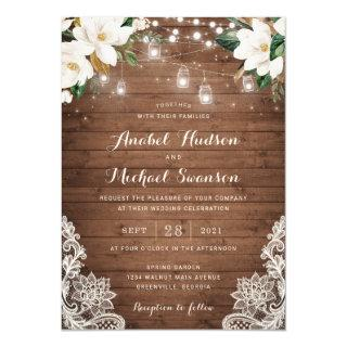 Floral Rustic Wood String Lights Lace Mason Jars Invitations