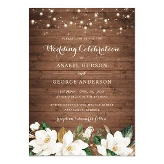 Floral Rustic Wood String Lights Magnolia Elegant Invitations