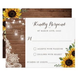 Floral Rustic Wood Sunflower String Lights RSVP Invitations