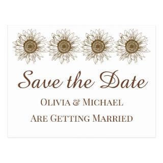 Floral Save The Date Sunflower Wedding Engagement Postcard
