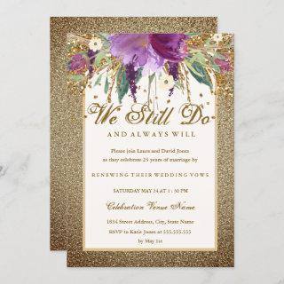 Floral Sparkling Amethyst Vow Renewal Anniversary Invitations