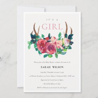 Floral Stag Antlers It's a Girl Baby Shower Invite