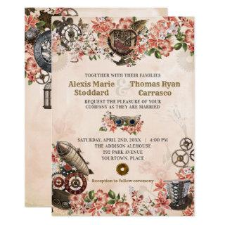 Floral Steampunk Wedding Invitation