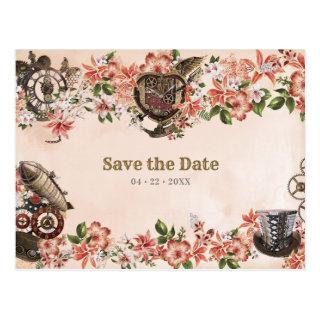 Floral Steampunk Wedding Save the Date Postcard