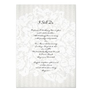 Floral Stripes Black and White Anniversary Party Invitation