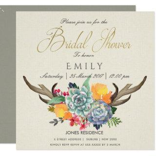FLORAL SUCCULENT ANTLER BOHEMIAN ALLURE  SHOWER Invitations