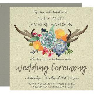 FLORAL SUCCULENT ANTLER BOHEMIAN ALLURE WEDDING Invitations