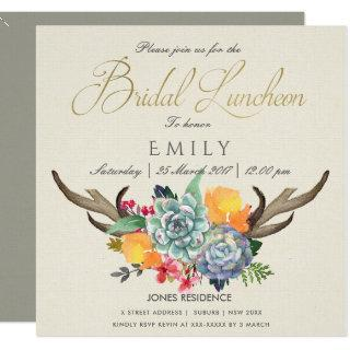 FLORAL SUCCULENT ANTLER BOHEMIAN BRIDAL LUNCHEON INVITATION