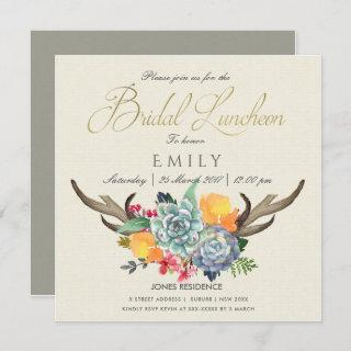 FLORAL SUCCULENT ANTLER BOHEMIAN BRIDAL LUNCHEON Invitations