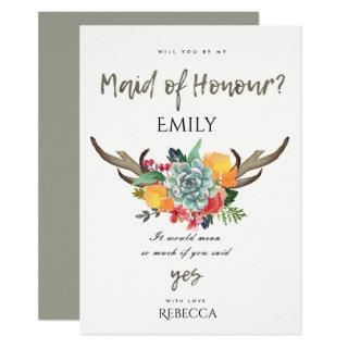 FLORAL SUCCULENT ANTLER BOHEMIAN MAID OF HONOR Invitations