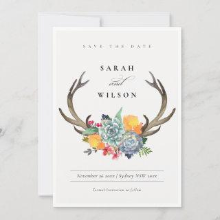 FLORAL SUCCULENT ANTLER BOHEMIAN  SAVE THE DATE