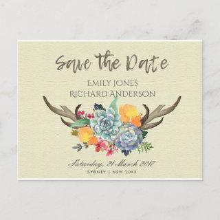 FLORAL SUCCULENT ANTLER BOHEMIAN SAVE THE DATE ANNOUNCEMENT POSTCARD