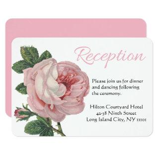 Floral Thank You Pink Rose Flowers Vintage Wedding Invitations
